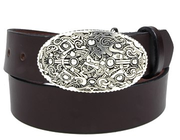 Plain Belt-Viking Oval Buckle-Chocolate Brown