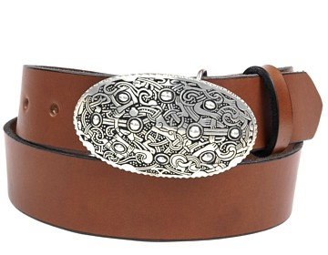 Plain belt-Viking Oval Buckle-Canyon Brown