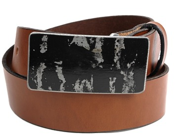 Plain Belt-Black Distressed Buckle-Canyon Brown