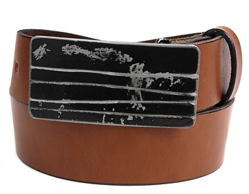 Plain Belt-Black Lined Buckle-Canyon Brown