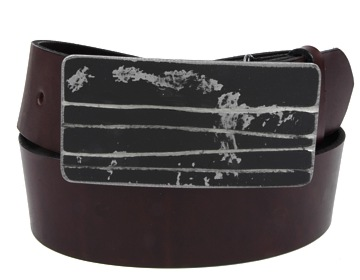 Plain Belt-Black Lined Buckle-Chocolate Brown