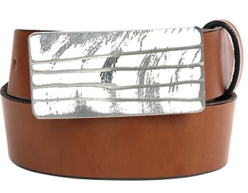 Plain Belt-White Lined Buckle-Canyon Brown