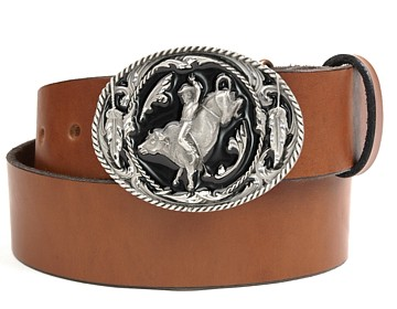 Plain Belt-Bull Rider Buckle-Canyon Brown