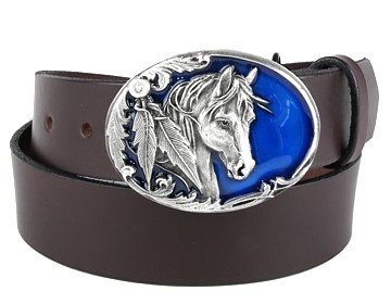 Plain Belt-Horse on Blue Buckle-Chocolate Brown