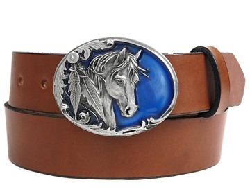 Plain Belt-Horse on Blue Buckle-Canyon Brown