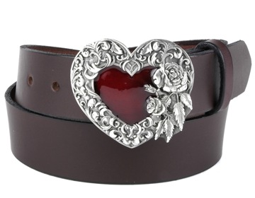 Plain Belt-Silver & Red Heart-Chocolate Brown