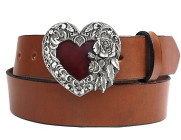 Plain Belt-Silver & Red Heart-Canyon Brown