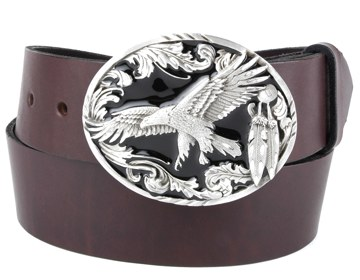 Plain Belt-Scroll Eagle Buckle-Chocolate Brown