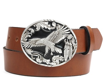 Plain Belt-Scroll Eagle Buckle-Canyon Brown