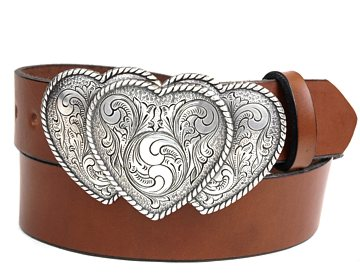 Plain Belt-Three Western Hearts-Canyon Brown