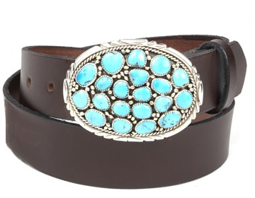 Plain Belt-Turquoise Cluster Buckle-Chocolate Brown