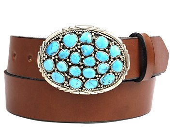 Plain Belt-Turquoise Cluster Buckle-Canyon Brown
