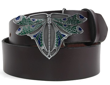 Plain Belt-Dragonfly Buckle-Chocolate Brown