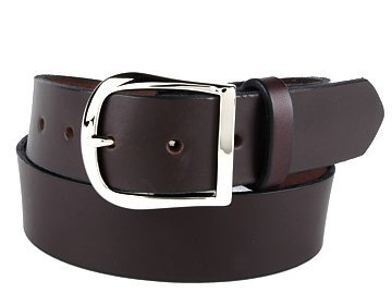 Plain Belt-Silver Horseshoe Buckle-Chocolate Brown
