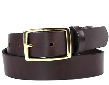 Double Thick Belt-Brass Rec-Chocolate Brown