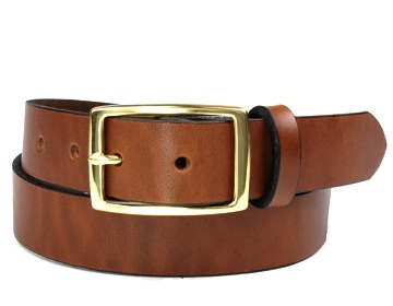 Double Thick Belt-Brass Rec-Canyon Brown