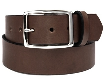Plain Belt-Silver Rectangle Buckle-Chocolate Brown