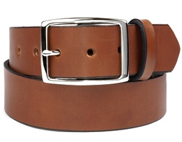 Plain Belt- Silver Rectangle Buckle-Canyon Brown