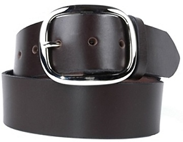 Plain Belt-Silver Oval Buckle-Chocolate Brown