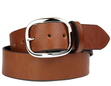 Plain Belt-Silver Oval Buckle-Canyon Brown