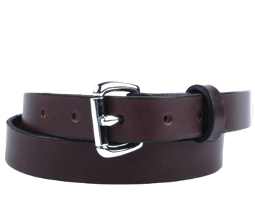 Plain Belt-Silver Roller Buckle-Chocolate Brown