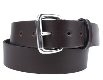 Double Thick Belt-Sil.Roller-Chocolate Brown