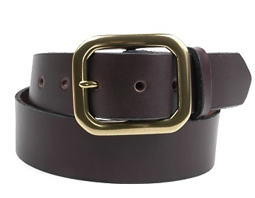Plain Belt-Ant. Br. Clipped Corner-Chocolate Brown