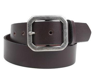 Plain Belt-Ant.Sil. Clipped Corner-Chocolate Brown