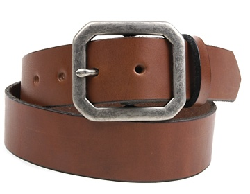 Plain Belt-Ant.Sil Clipped Corner-Canyon Brown