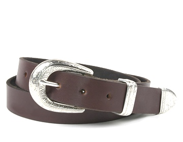 Plain Belt-SW Floral Buckle-Chocolate Brown