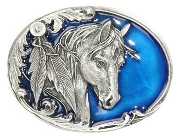 Horse on Blue Buckle