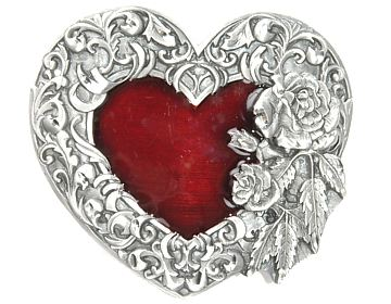 Silver & Red Heart Buckle