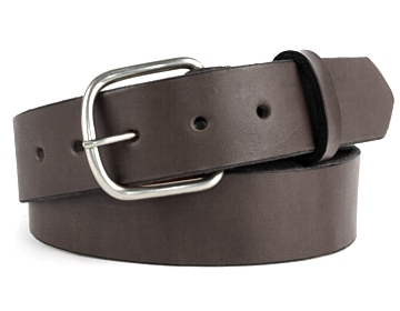 Plain Belt-Ant. Silver End Bar-Chocolate Brown