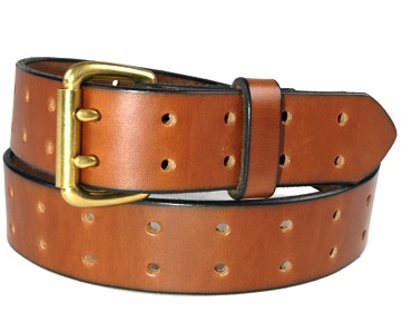 Holey Belt-2 Prong Brass Buckle-Canyon Brown