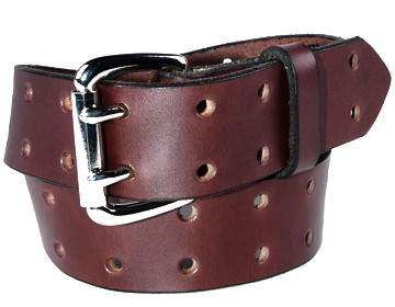 Holey Belt-2 Prong Silver Roller-Chocolate Brown