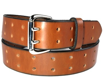 Holey Belt-2 Prong Silver Roller-Canyon Brown