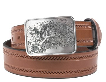 Zig Zag Belt-Cheshire Cat Buckle-Canyon Brown
