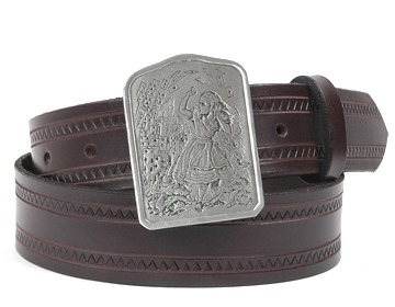 Zig Zag Belt-Alice and Cards Buckle-Chocolate Brown