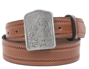 Zig Zag Belt-Alice and Cards Buckle-Canyon Brown