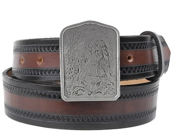 Zig Zag Belt-Alice and Cards Buckle-Black & Brown