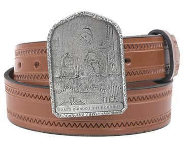 Zig Zag Belt-Looking Glass Buckle-Canyon Brown
