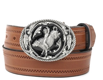Zig Zag Belt-Bull Rider Buckle-Canyon Brown