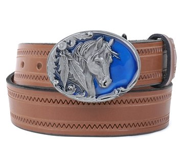 Zig Zag Belt-Horse on Blue Buckle-Canyon Brown