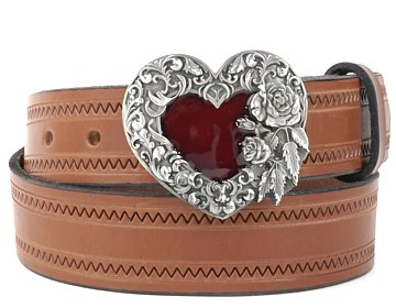 Zig Zag Belt-Red Heart Buckle-Canyon Brown