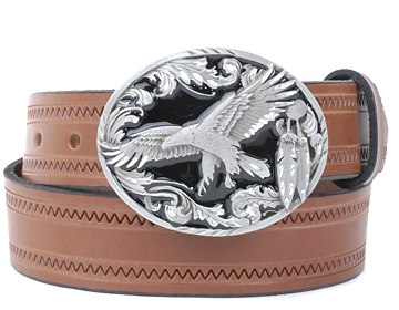 Zig Zag Belt-Scroll Eagle Buckle-Canyon Brown