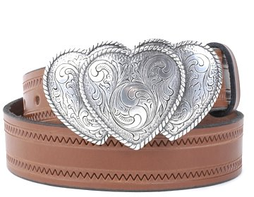 Zig Zag Belt-3 Hearts Buckle-Canyon Brown
