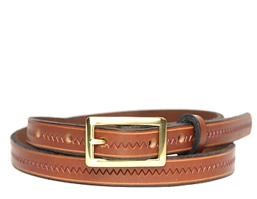Zig Zag Belt-Brass Rectangle Buckle-Canyon Brown