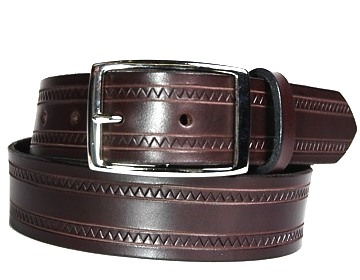 Zig Zag Belt-Silver Rectangle-Chocolate Brown