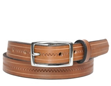 Zig Zag Belt-Silver Rectangle-Canyon Brown