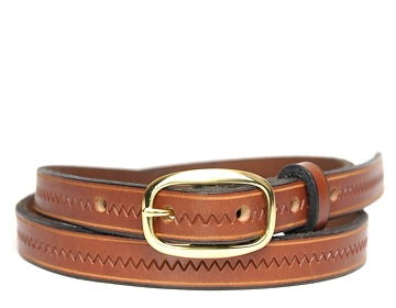 Zig Zag Belt-Brass Oval Buckle-Canyon Brown